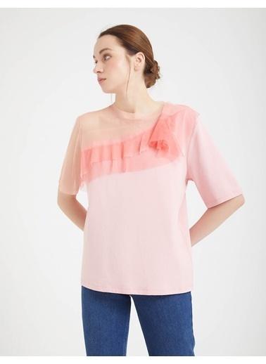 BGN Açık Pembe - Tül Yaka Detaylı Bluz Pembe